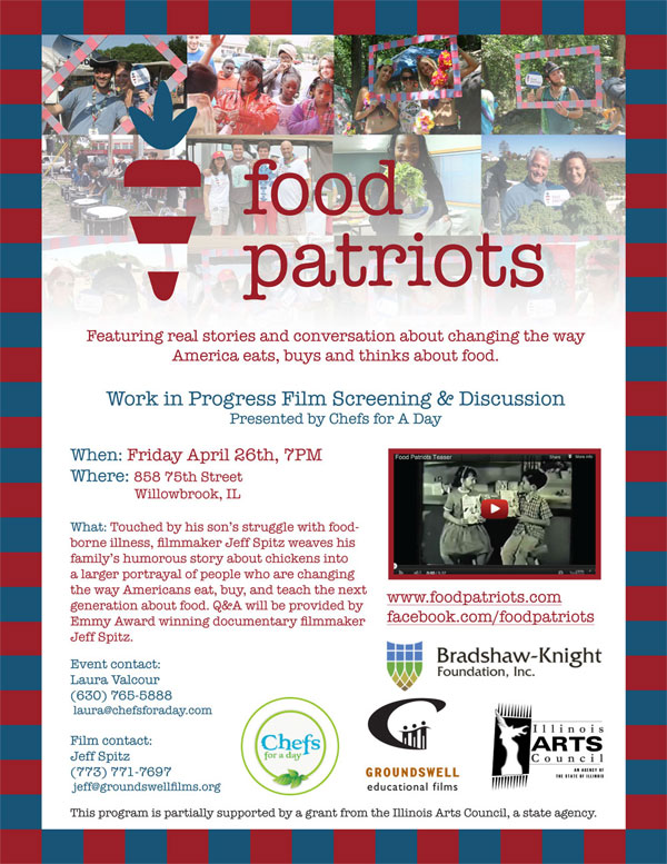 Chefs For a Day will host a Food Patriots screening on April 26, 2013